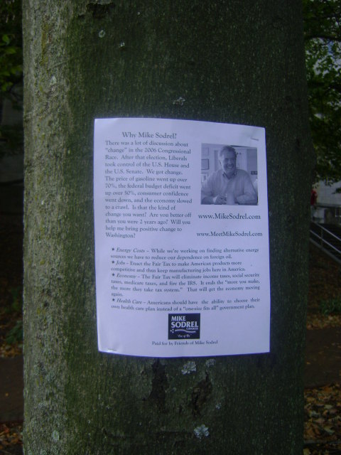 Republican flyer on tree