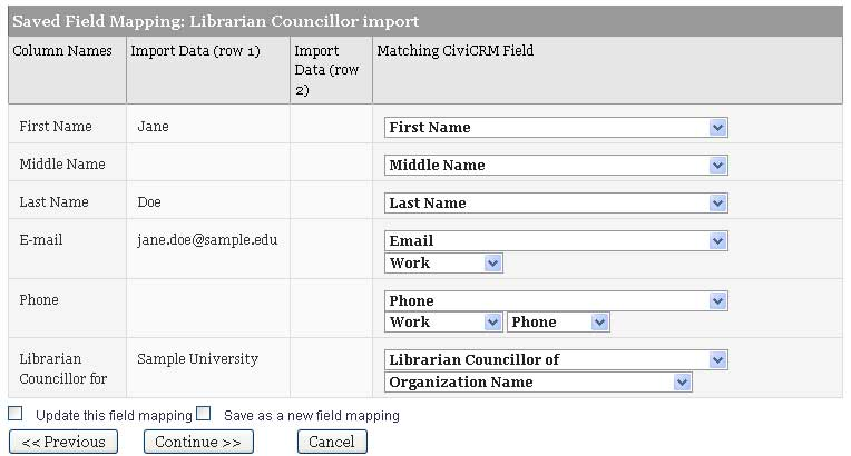 Configuring import field mappings in CiviCRM