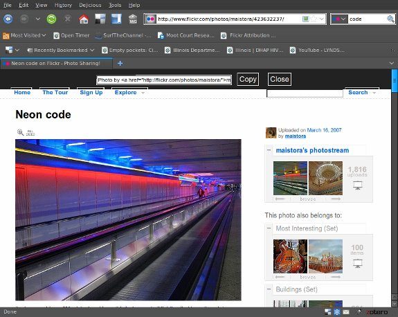 Bookmarklet to generate Flickr image attribution text and link